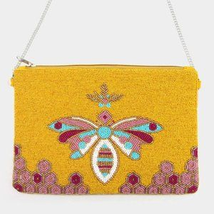 Seed Bead Butterfly Crossbod Clutch Bag